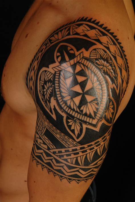 shane tattoos polynesian turtle shoulder