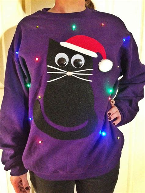 cat sweater with lights light up sweater cat also