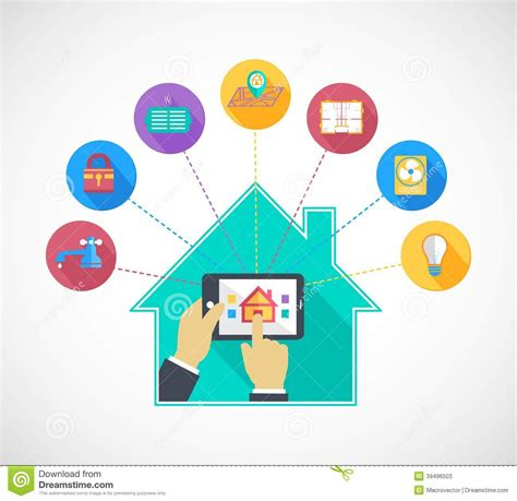 max smart home safety security light holding mobile phone controls smart home stock vector