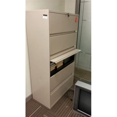 """5 Drawer Sand Flip Front 36"""" Lateral File Cabinet with"""