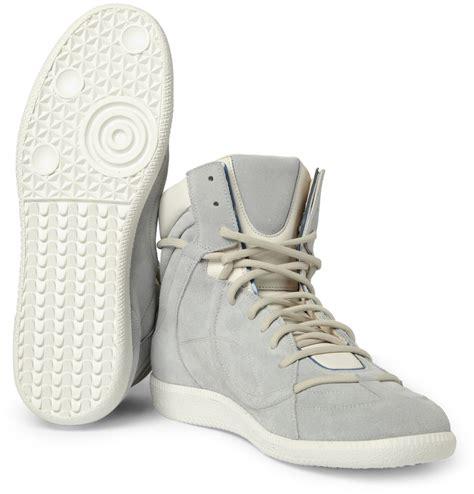 maison martin margiela high top sneakers maison martin margiela suede and leather high top sneakers