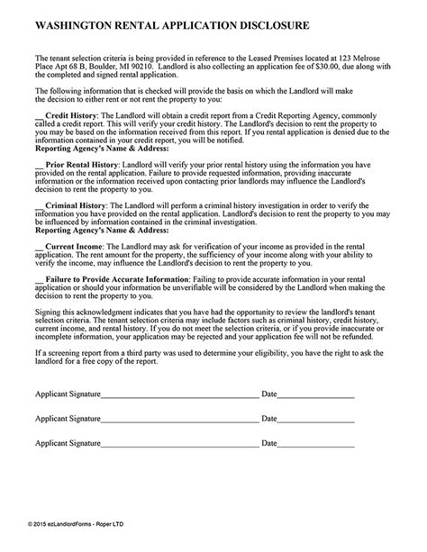 Denied Apartment Because Background Check Washington Rental Application Disclosure Ez Landlord Forms