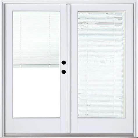 Patio Door With Blinds Between Glass Masterpiece 58 3 4 In X 79 1 4 In Fiberglass White Left Inswing Hinged Patio Door With