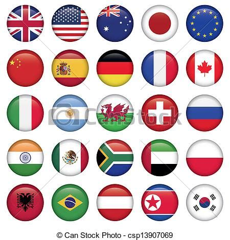 flags of the world zip clip art vector of set of round flags world top states
