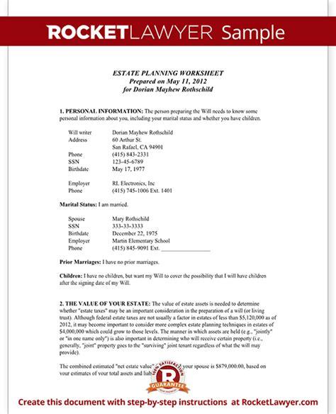 printable estate planner estate planning worksheet married