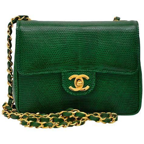 chanel vintage emerald green lizard mini handbag