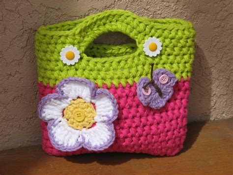 crochet pattern flower bag girls bag purse with large flower and butterfly crochet