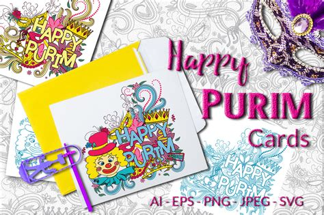 purim card template happy purim vector cards by elionorka thehungryjpeg