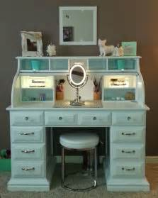 Diy Bedroom Vanity Roll Top Desk Makeover By Chelsea Lloyd Vanity Makeup