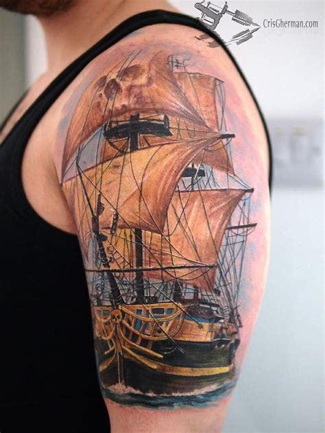pirate tall ship tattoo tatts pinterest