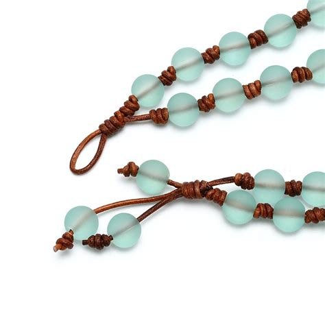 Handmade Leather Necklace - aobei pearl handmade leather necklace with 10 mm matte