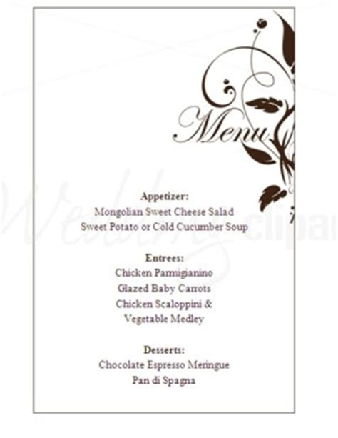 free wedding menu template for word wedding menu template word