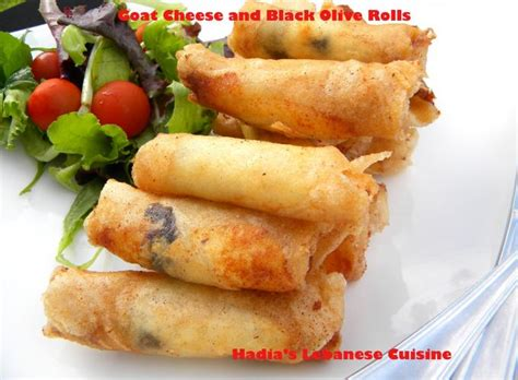 macaroni cheese spring rolls am i in heaven plemousse goat cheese and black olive rolls hadia s lebanese cuisine