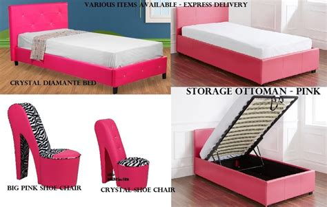 girls hot funky pink bedroom furniture ottoman storage