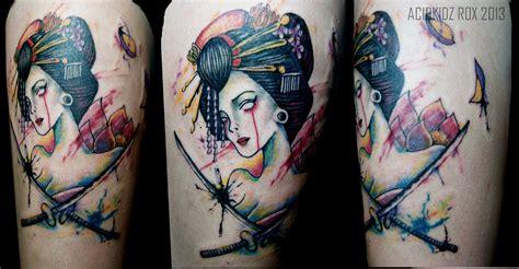 watercolor tattoos lotus roxiehart666 acidkidz watercolor geisha sword