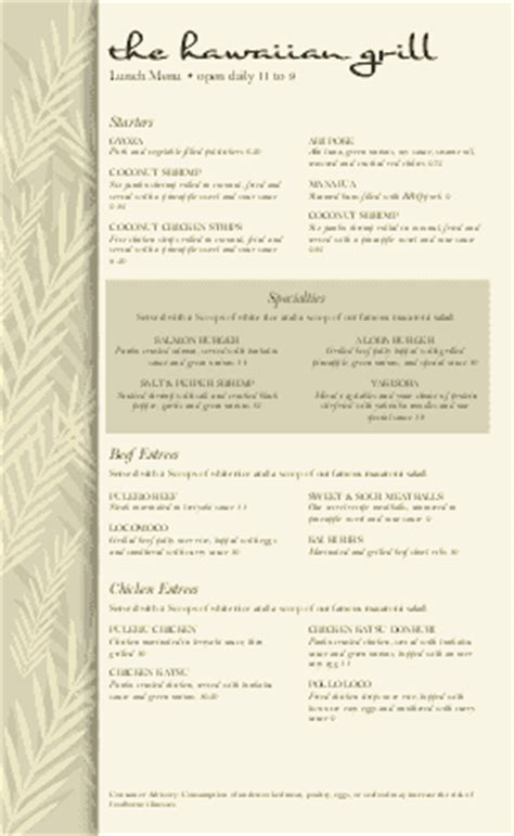 hawaiian menu template hawaiian food menu cafe menus