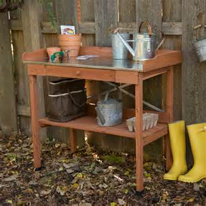 Potting Bench For Sale Cypress Wood Lotus Potting Bench With Metal Top Potting