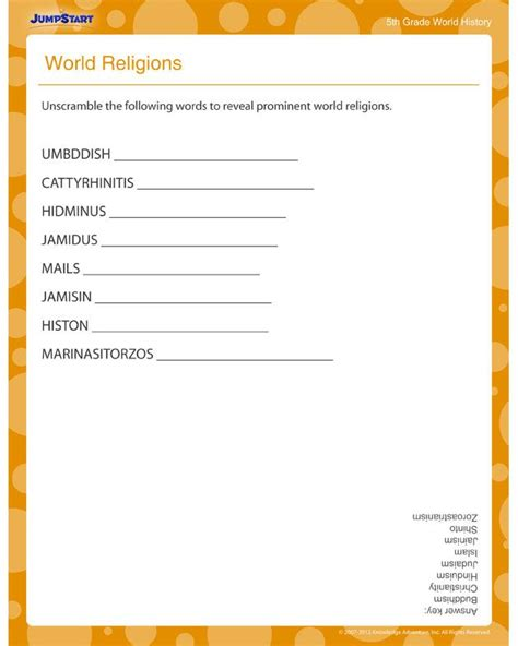 World History Worksheets by World Religions World History Worksheets For 5th Grade