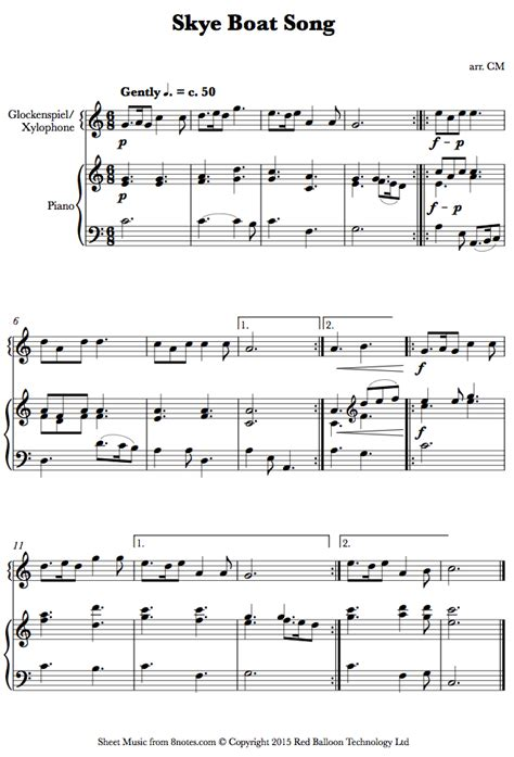 vocal piano xylofon boat song xylophone sheet for percussion