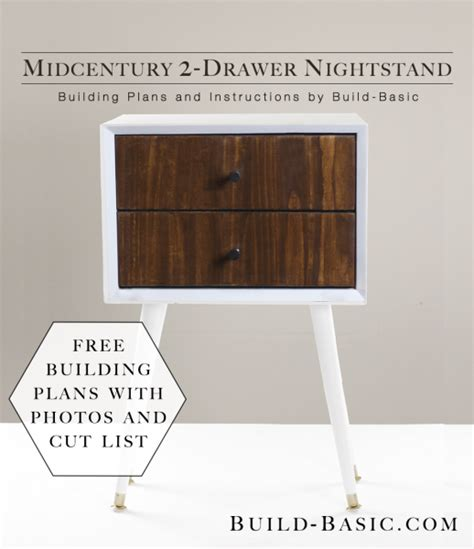 2 drawer nightstand diy build a diy midcentury 2 drawer nightstand build basic
