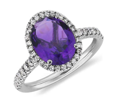 amethyst and ring in 18k white gold 10x8mm