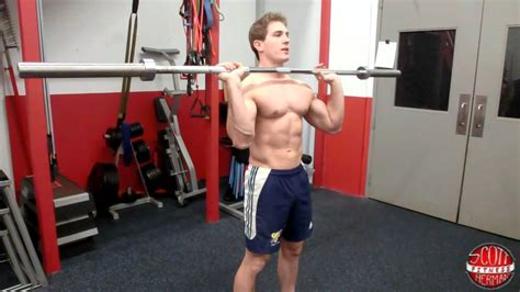 military bench press how to standing straight bar military overhead press