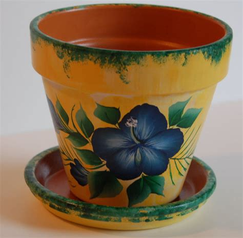 pot designs 6 or 8 hand painted clay flower pot