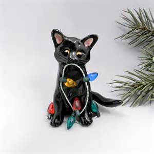 black cat christmas ornament figurine lights by themagicsleigh