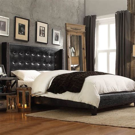 marion nailhead wingback tufted upholstered bed by inspire