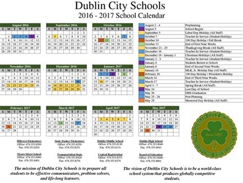 Will Calendars Dublin School News Dublin Middle School