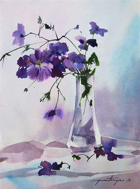 Watercolor Flowers In Vase by Flowers In Vase Watercolor Flowers