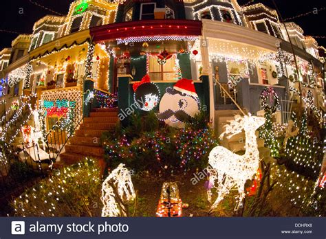 34th street lights in hden baltimore stock photo