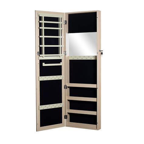 wooden jewelry armoire cabinet organizer with mirror