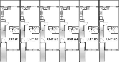 6 Unit Townhouse Plans, 6 Plex Plans, Double Master