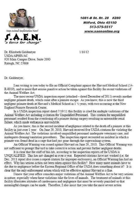 Complaint Letter Sle For School Letter Of Complaint To Usda About Harvard School 10 Jan 2012 Harvard School