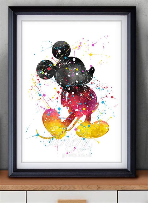 disney mickey mouse watercolor poster print wall decor