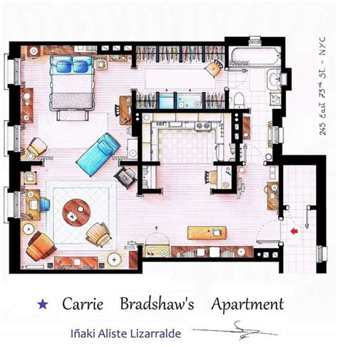 carrie bradshaw s apartment floor plan all sketched out