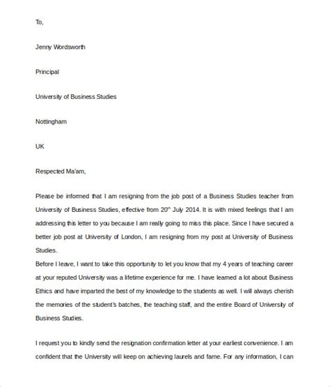 College Resignation Letter resignation letter sle letter of resignation from teaching position format school