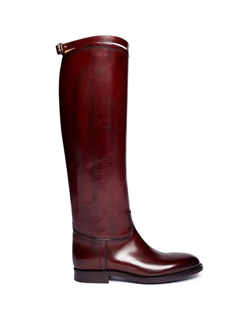 leather riding alberto fasciani top strap leather riding boots in red lyst