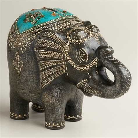 elephant decor turquoise terra cotta elephant bank eclectic home decor by cost plus world market