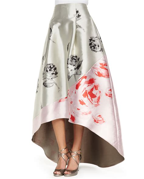 sachin babi high low floral skirt in gray