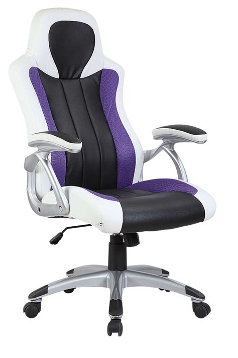 Desk Office Chairs Furniture Purple Desk Chair With High Curvy Back And Black Arm Also Base Plus Five Black Wheels