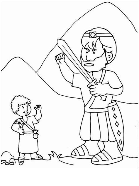 a simple drawing of david and goliath coloring page free