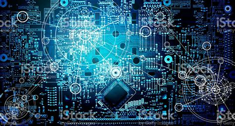 electronic layout online electronic circuit network grunge background stock photo
