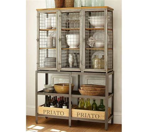 industrial style display cabinet industrial caged gray storage cabinet
