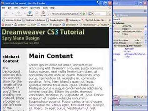 tutorial for dreamweaver cs3 pdf dreamweaver cs3 spry menu css tutorial 3 8 youtube