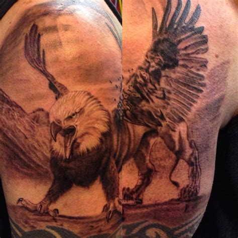 griffin tattoos black and grey griffin done by artist cesar