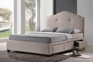 King Size Headboards Bedroom Furniture Armeena Beige Linen Modern Storage Bed With Upholstered