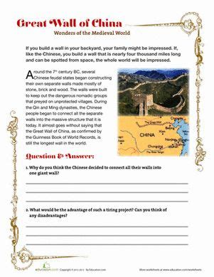 Great Wall Of China China And Worksheets On Pinterest
