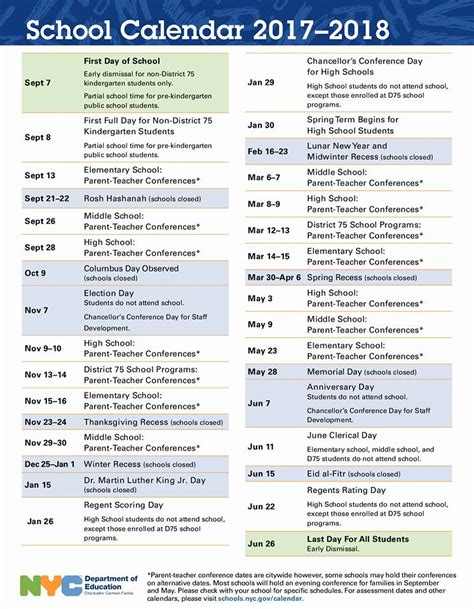 Nyc School Calendar Look Nyc School Calendar For 2017 2018